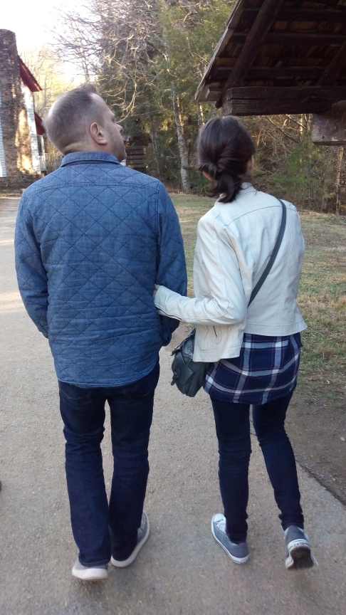 Clint walking arm in arm with our girl...